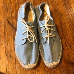 Soludos denim lace up platform espadrilles sz 9